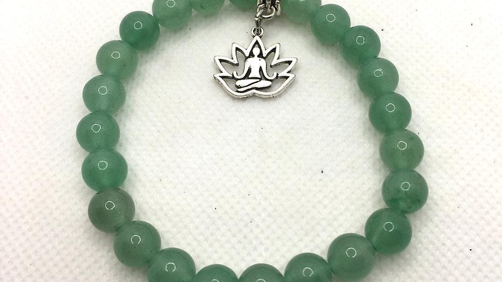 Green Aventurine 8 mm Bead Bracelet with Buddha inside Lotus Charm