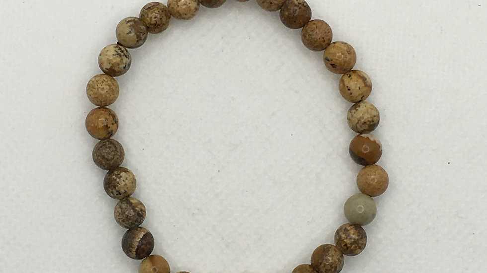Picture Jasper 6 mm Bead Bracelet