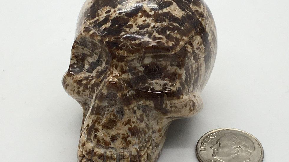"""Brown Aragonite 2 1/4"""" Skull"""