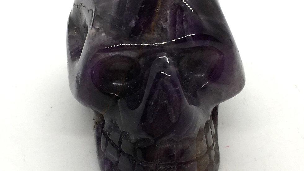 """Chevron Amethyst 3"""" Skull from Morocco"""