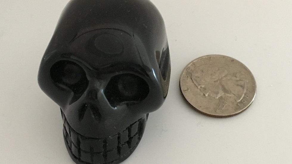 """Black Obsidian 2"""" Skull"""