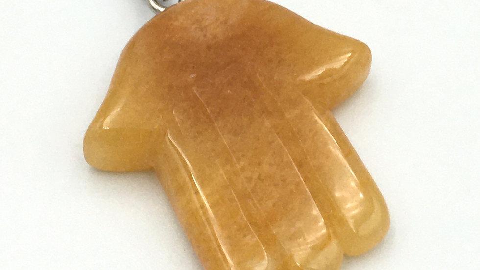 Golden Healer Quartz Hand Shaped Necklace