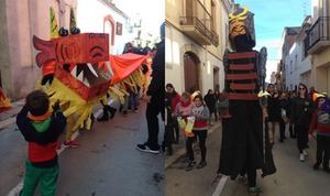 El Drac i el gegantó portat pel grup dels petits i els mitjans de l'esplai