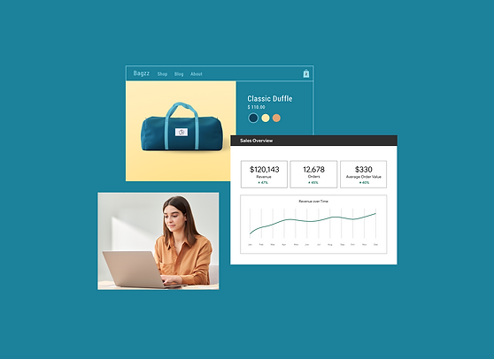 Online bag business with a product page and a sales dashboard, booking a call with a Wix expert