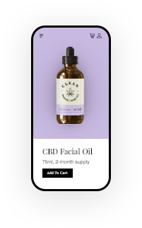 Mobile-friendly CBD online store product page.