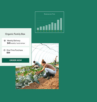 Product options, image of people in a farm and a sales graph from selling produce subscriptions online
