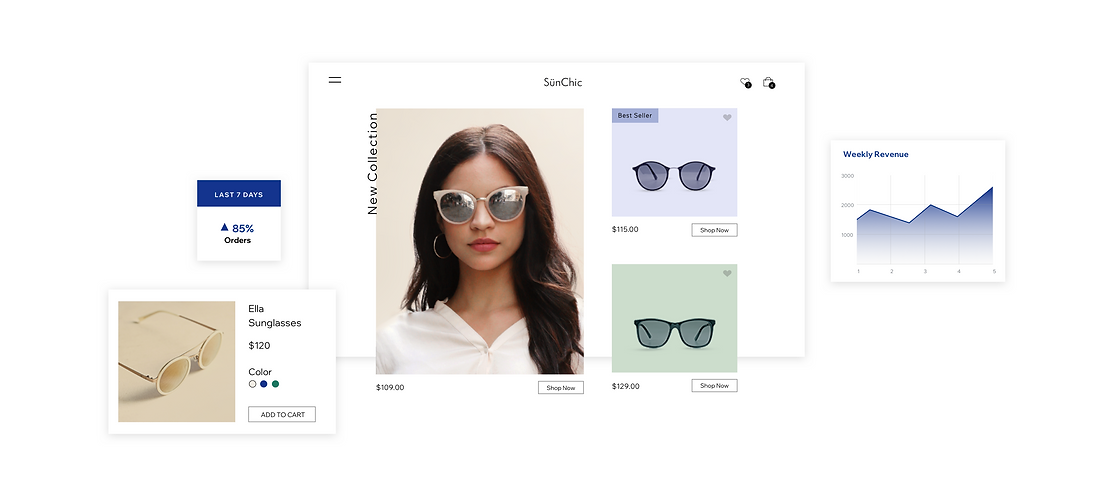 Online store product pages and analytics showing how to sell online with Wix