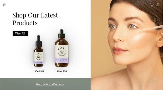 CBD facial oils and an online CBD storefront.