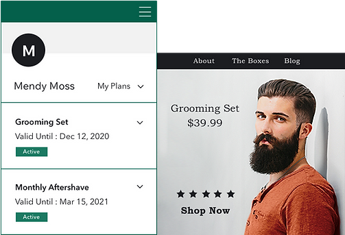 Customer managing their shaving kit subscriptions on a Wix online store
