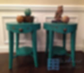 Teal Oval end tables