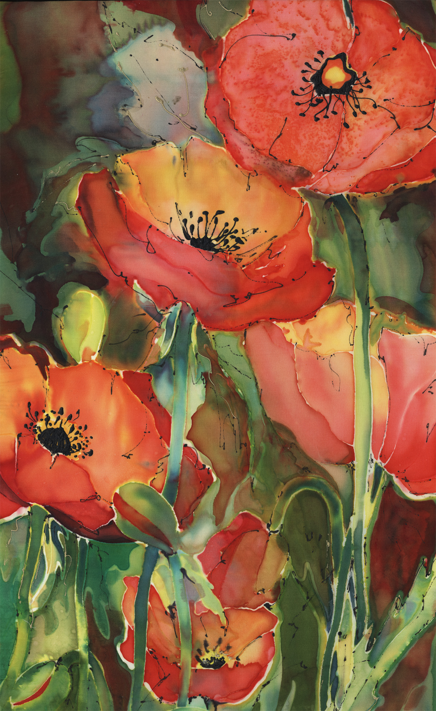 Poppies on Silk