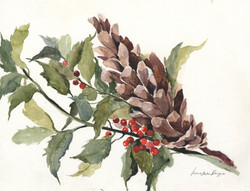 Pine Cone with Holly