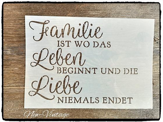 """Schablone """"Famile ist wodas Leben.."""" A4"""