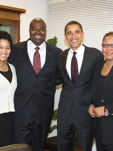 Assigned to write for Don Thompson and Pat Harris at McDonald's Corporation, Meredith had the opportunity to meet with President Barack Obama.