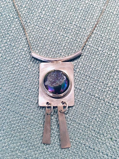 Sterling Silver blue/purple Druzy stone Pendant