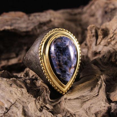 Pear shaped Blue Tigers Eye Ring