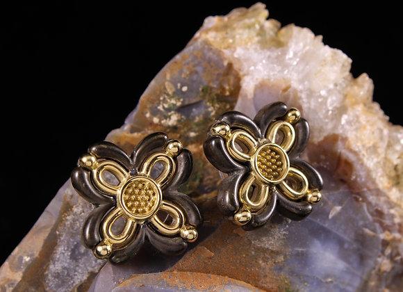 Filigree X and Flower Earrings