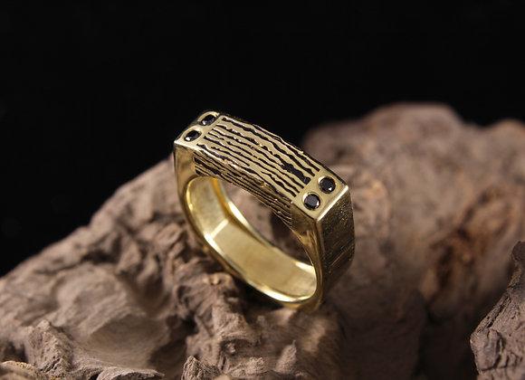 Wholesale Rectangle Top Wood Grain Ring