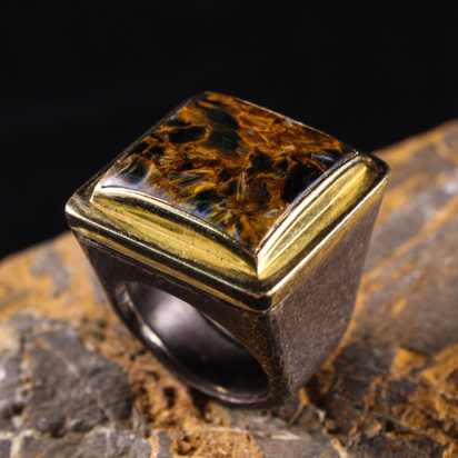 Square Tigers Eye Ring
