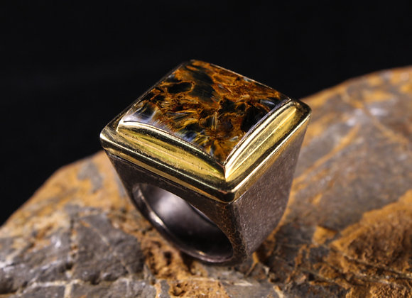 Wholesale Hammered Square Tigers Eye Ring