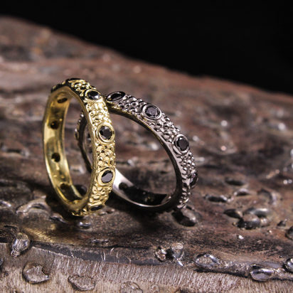 Textured Black Diamond Stack Rings