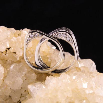 Wires and Screws Diamond Wedding Set
