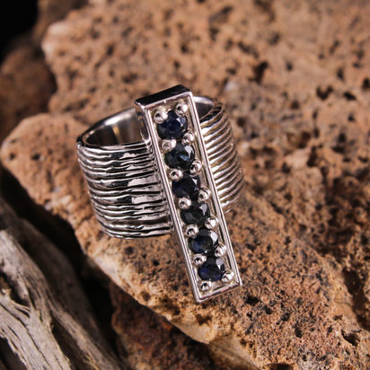 Wood Grain Ring with Sapphire Bar