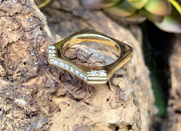 Square Stack Angled Ring 18ky