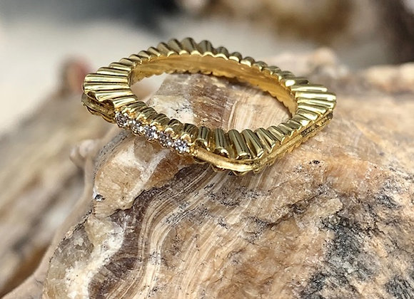 Wholesale Square Stack Grooved Ring 18ky