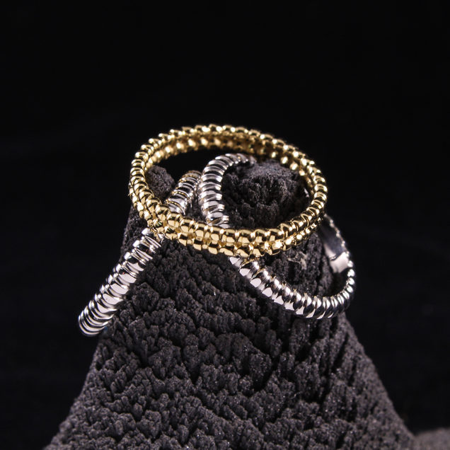 Beaded Rows Stack Rings
