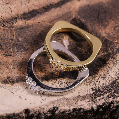 Cathedral Square Stack Rings