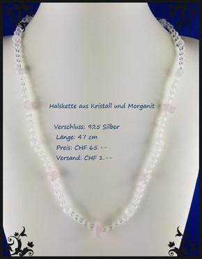 Halskette mit Kristall und Morganit