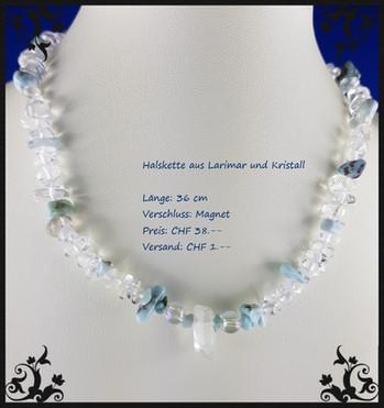 Halskette mit Larimar und Kristall