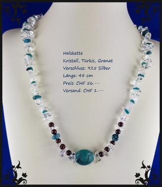 Halskette Kristall Türkis Granat