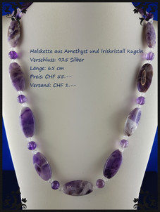 Halskette aus Ametist nd Iriskristallkugeln