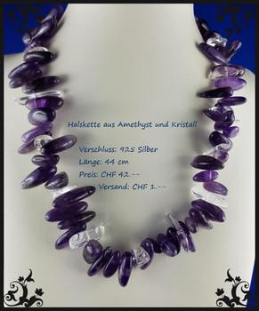 Halskette aus Amethyst und Kristall