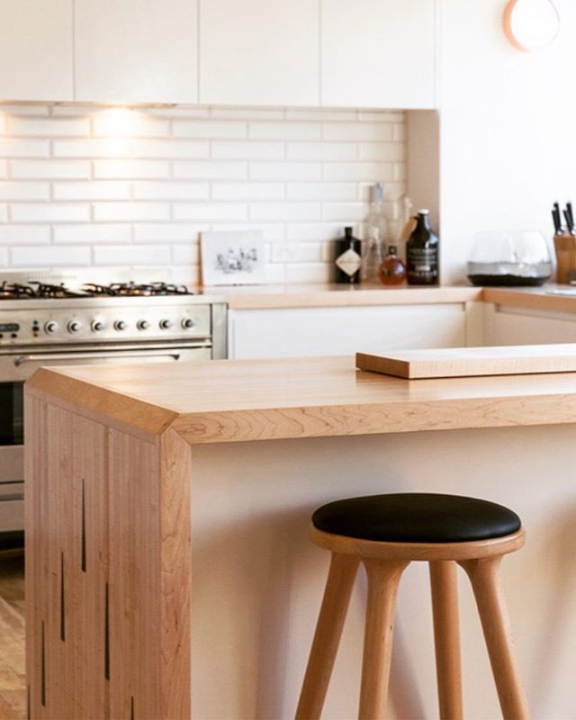 Reclaimed timber work tops from Northcote bowling alley
