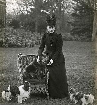 императрица Александра в Англии позирует с ее собаками включая чау-чау «Плумпи». Действительная дата фотографии не известна, фотография из библиотеки Конгресса.
