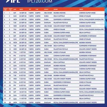 IPL Fixtures Released