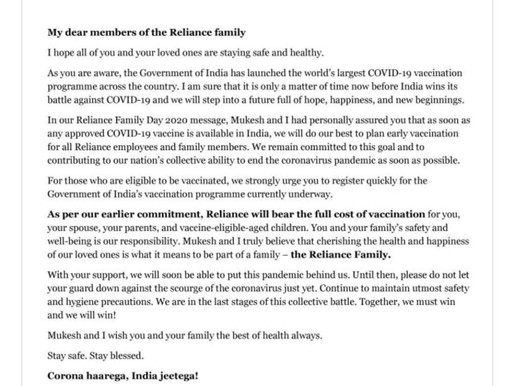 Reliance Industries for their Employees