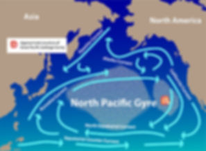 map of the North Pacific Gyre with the Great Pacific garbage patch - the approximate location...between North America and Asia