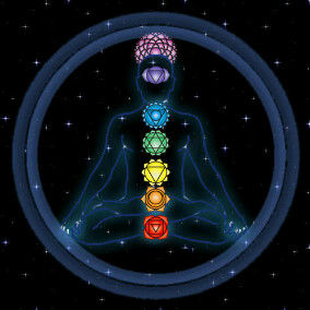 an energetic type of picture showing a man with the 7 chakras in order from the base of the spin to the top of the head (like all the charts and pictures) but this one shows the petals & colours of each chakra.