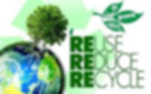 Earth in a bottle, with the words next to it as follow: go green save - Reuse, Reduce, Recycle