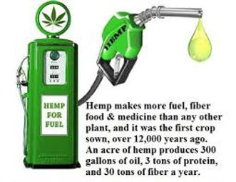 Image has a petrol tank - Hemp for fuel. Hemp makes more fuel, fiber food & medicine than any other plant and it was the first crop sown over 12 000 years ago. An acre of hemp produces 300 gallons of oil, 3 tons of protein and 30 tons of fiber a year.