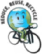 Earth riding a bicycle with the worlds around earth as follow: Reduce, Reuse, recycle