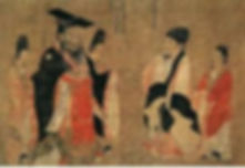 What looks like a group of Chinese poeple in discussion - very ancient picture.