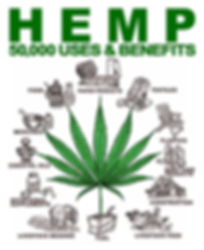Poster saying: Hemp - 50 000 uses & benefits. The shows a hemp leaf surrounded by uses and benefits of hemp; such as essential oils, medicines, food, paper products, textiles, plastics, body care products, construction, livestock feed, fuel, livestock bedding, nutritional supplements
