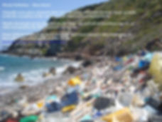 Picture of the sea shore covered with all sorts of rubbish from crates, plastic bottles, polysterine, all sorts of plastic garbage