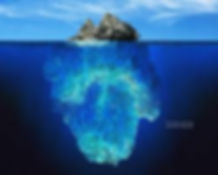 Shows the top and the the bottom of the pacific garbage patch, actually looks like a massive iceburg in the ocean. Horrible like a huge city on the surface and below the surface of the ocean.