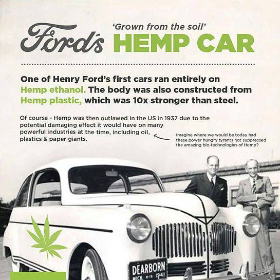 Artical showing Fords Hemp Car. one of Henry Ford's first cars ran entirely on Hmep ethanol. The body was also constructed from Hemp plastic, which was 10x stronger than steel.